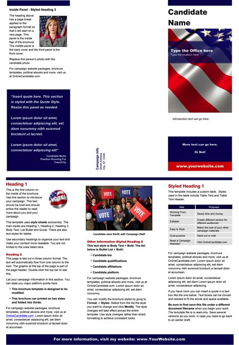 printing press brochure template - political print templates red white and blue theme word