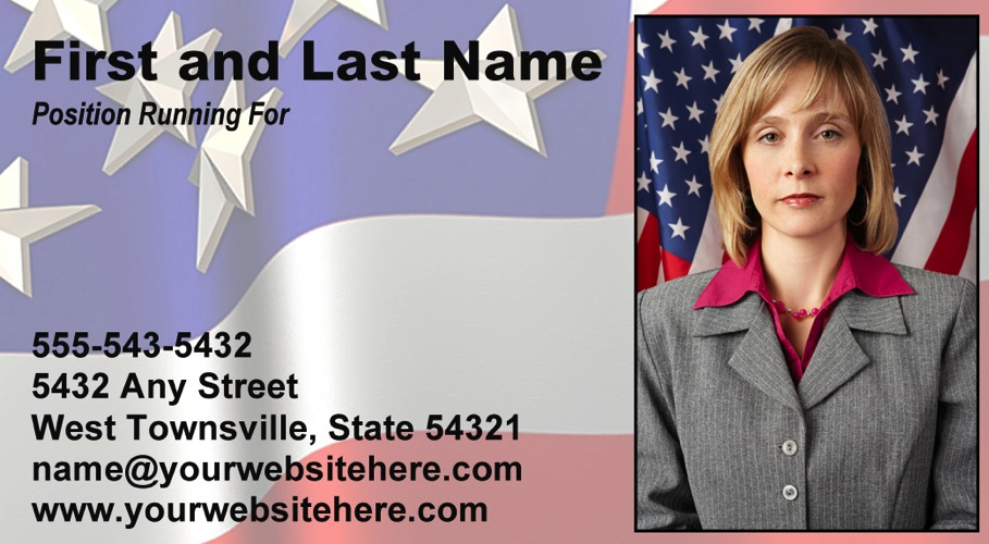 Red, White and Blue Themed Political Business Card Template
