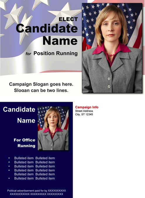 Red, White and Blue Themed Political Post Card Template