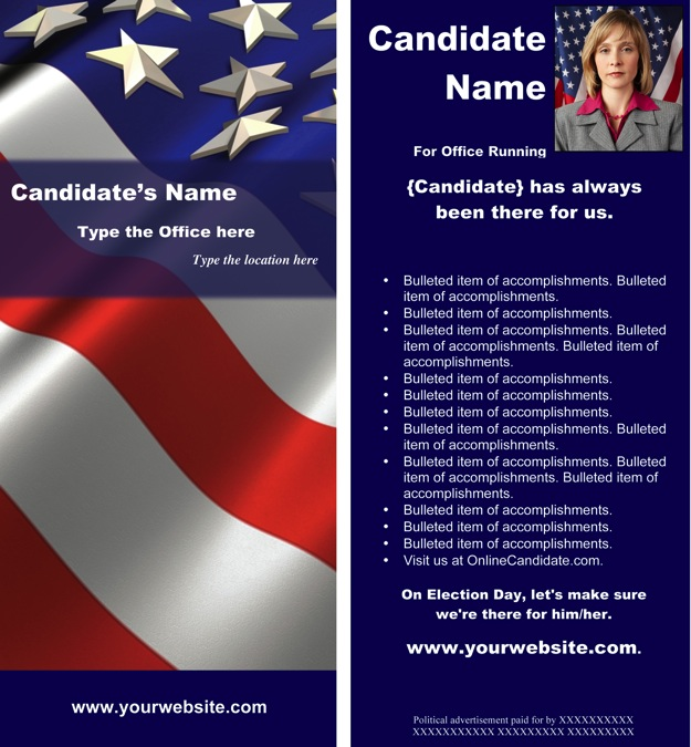Political print templates red white and blue theme word for Campaign literature templates