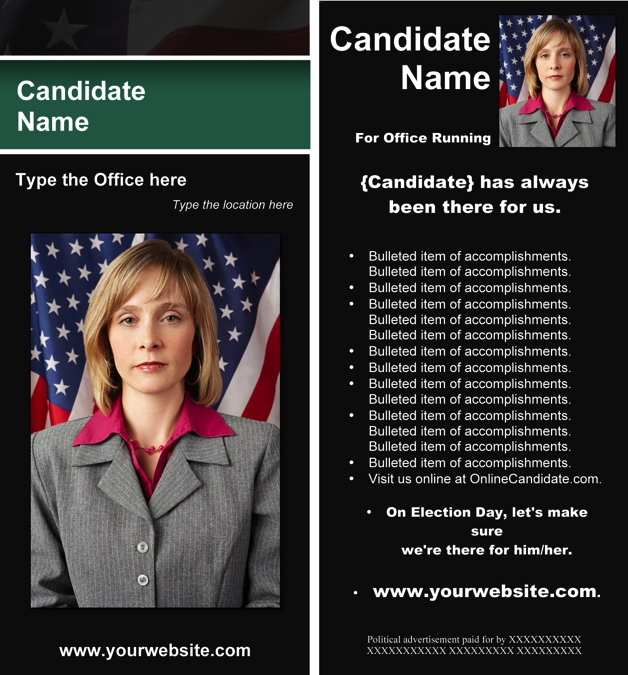 Political Print Templates - Black & Green Stripe with Flag Theme