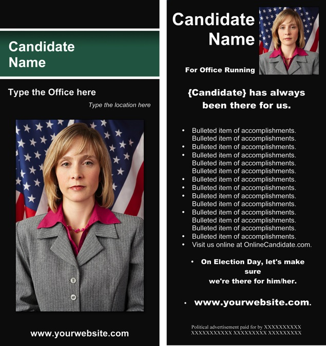 Political Print Templates - Black and Green Stripe Theme