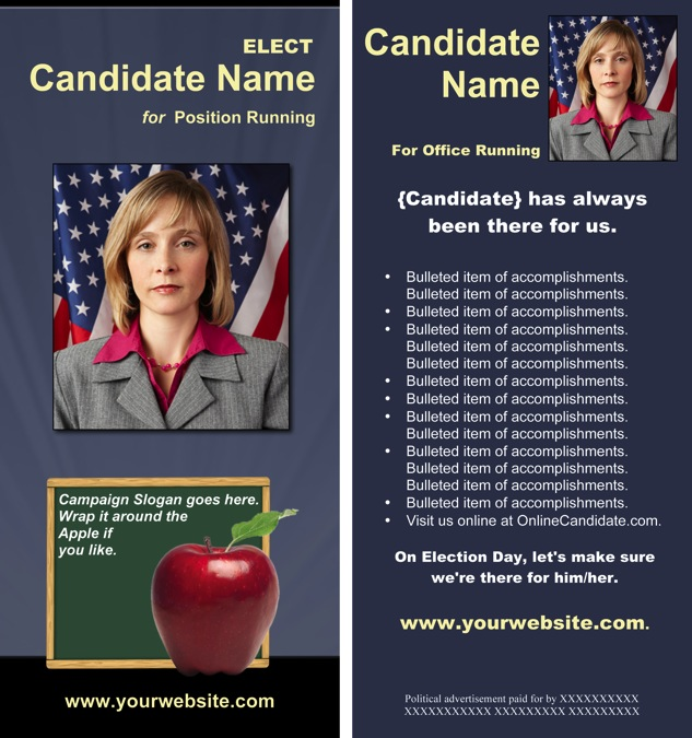 School Board Campaign Print Templates - Slate Blue and Yellow