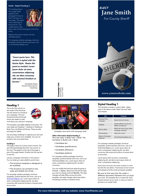 Sheriff Candidate Brochure Templates - Blue Theme