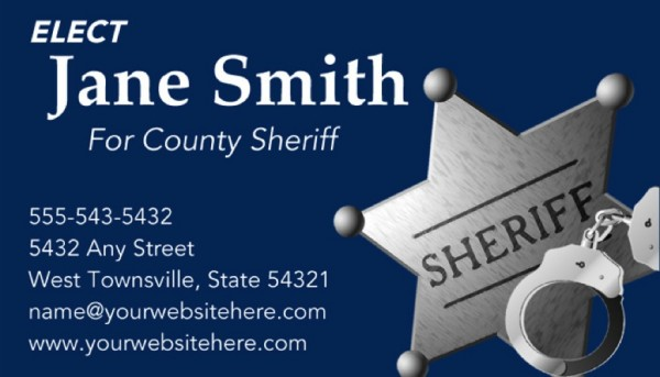 Sheriff Candidate Business Card Templates - Blue Theme
