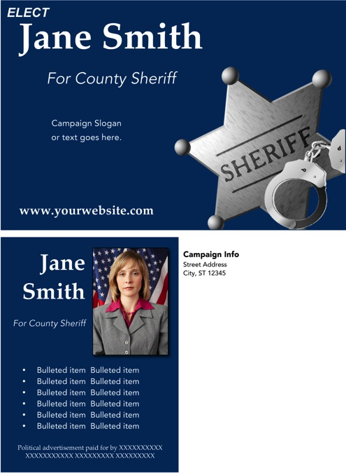 Sheriff Candidate Post Card Templates - Blue Theme
