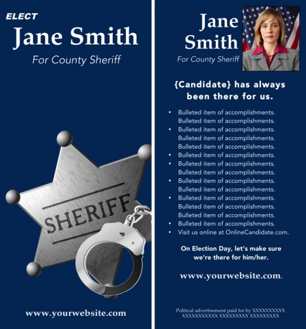 Sheriff Candidate Rack Card Templates - Blue Theme