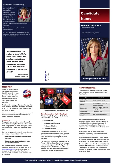 Political Brochure Templates - Blue and Red Stripe Theme