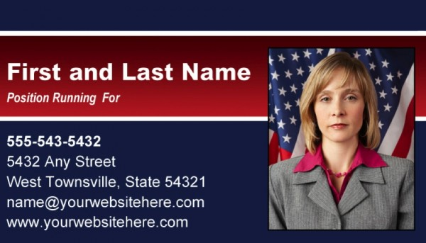 Political Business Card Templates - Blue and Red Stripe Theme