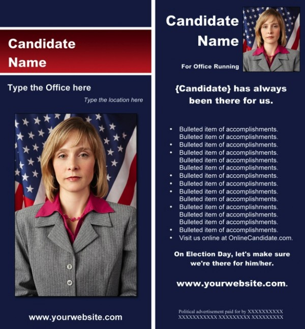 Political Rack Card Templates - Blue and Red Stripe Theme