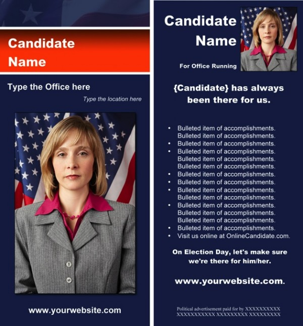 Political Rack Card Templates - Blue & Orange Stripe with Flag Theme