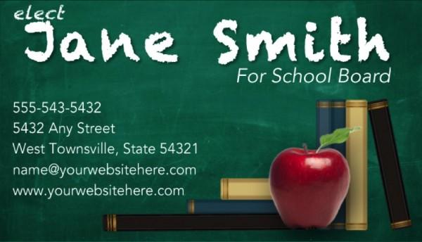 School Board Campaign Business Card Templates - Green Chalkboard Theme