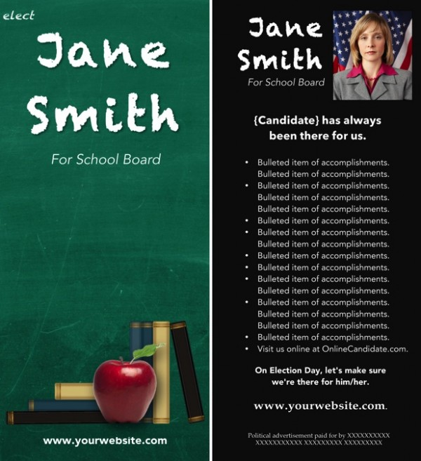 School Board Campaign Rack Card Templates - Green Chalkboard Theme