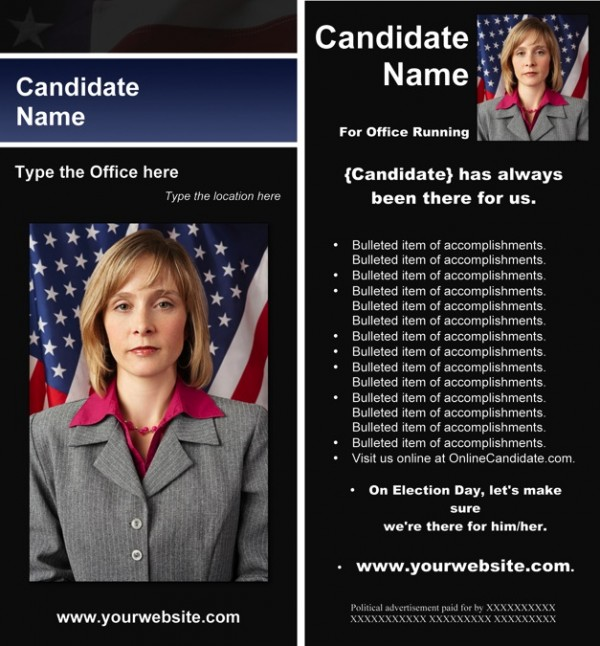 Political Rack Card Templates - Black & Blue Stripe with Flag Theme