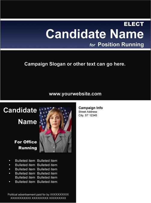 Political Post Card Templates - Black and Blue Stripe Theme