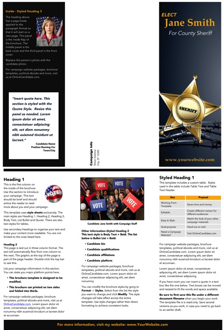 Sheriff Candidate Brochure Templates - Black and Gold Theme
