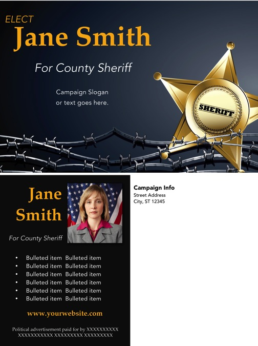 Sheriff Candidate Post Card Templates - Black and Gold Theme