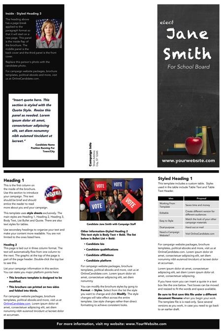 School Board Campaign Brochure Templates - Gray Chalkboard Theme