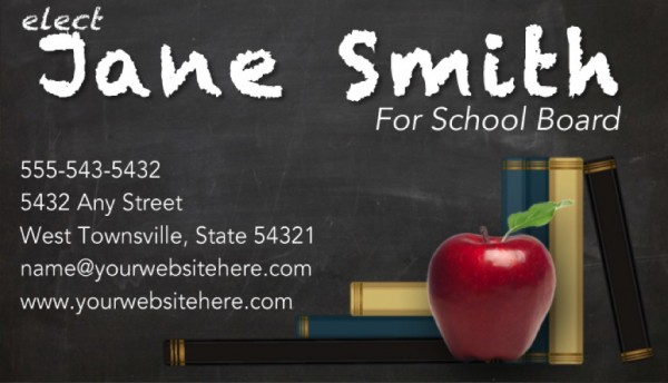 School Board Campaign Business Card Templates - Gray Chalkboard Theme