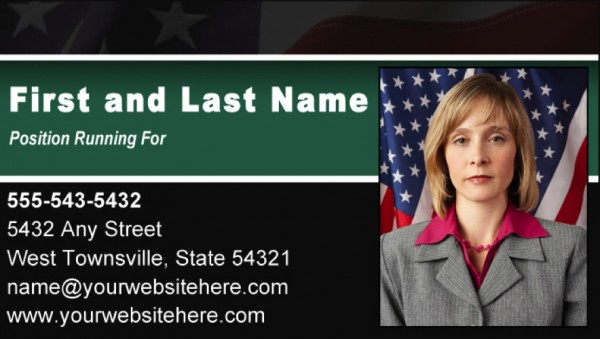 Political Business Card Templates - Black & Green Stripe with Flag Theme