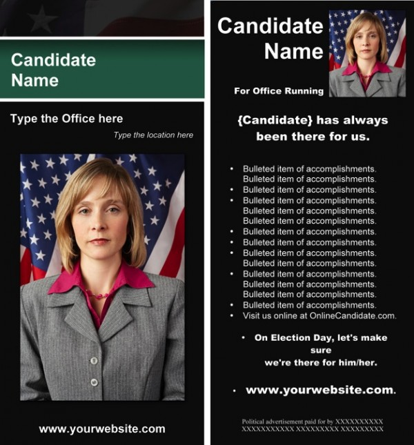 Political Rack Card Templates - Black & Green Stripe with Flag Theme