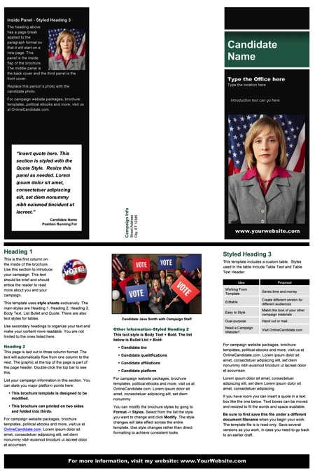 Political Brochure Templates - Black and Green Stripe Theme