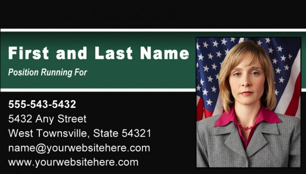 Political Business Card Templates - Black and Green Stripe Theme
