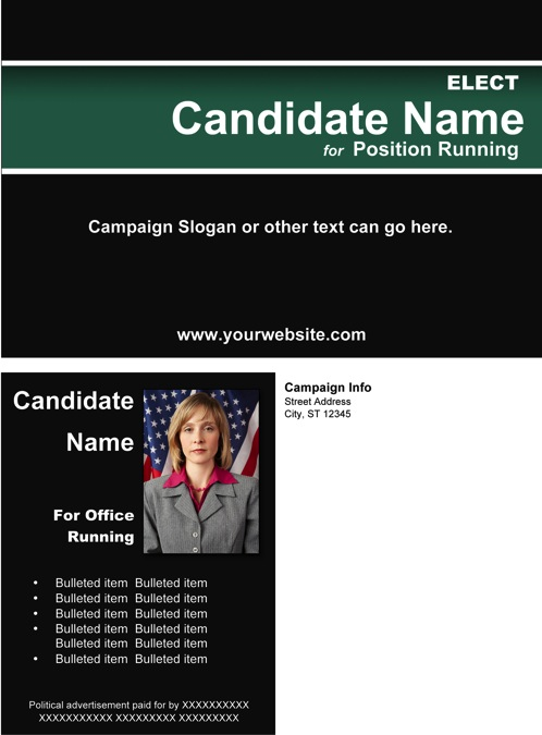 Political Post Card Templates - Black and Green Stripe Theme