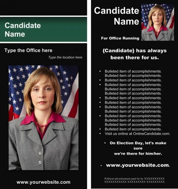 Political Rack Card Templates - Black and Green Stripe Theme