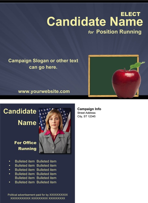 School Board Campaign Post Card Templates - Slate Blue and Yellow