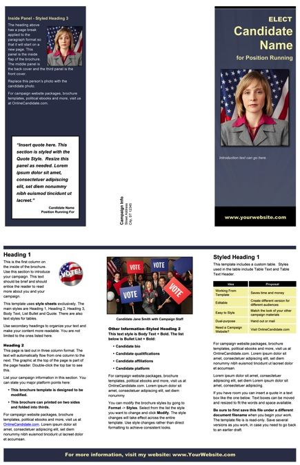 Political Brochure Templates - Slate Blue and Yellow Theme