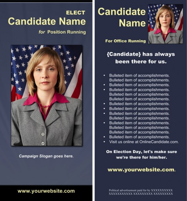 Political Rack Card Templates - Slate Blue and Yellow Theme