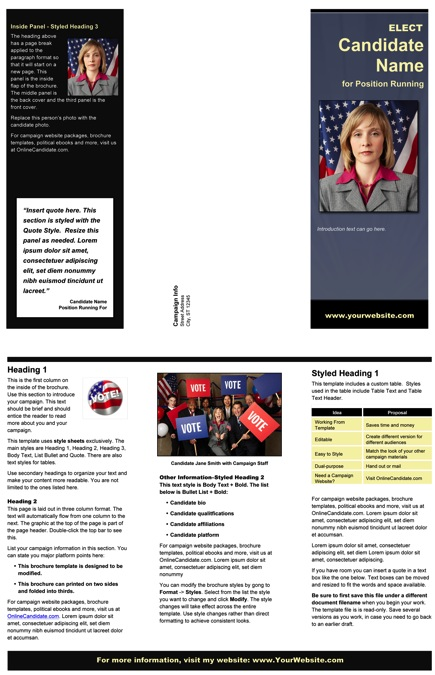 Political Brochure Templates - Slate Blue, Black and Yellow Theme