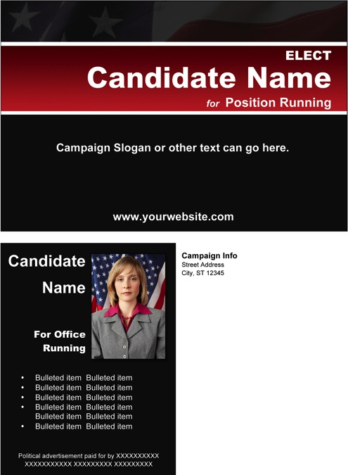 Political Post Card Templates - Black & Red Stripe with Flag Theme