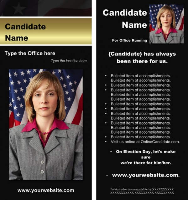 Political Rack Card Templates - Black & Gold Stripe with Flag Theme