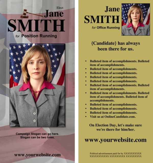 Judges and Judicial Candidate Rack Cards - Gold Theme