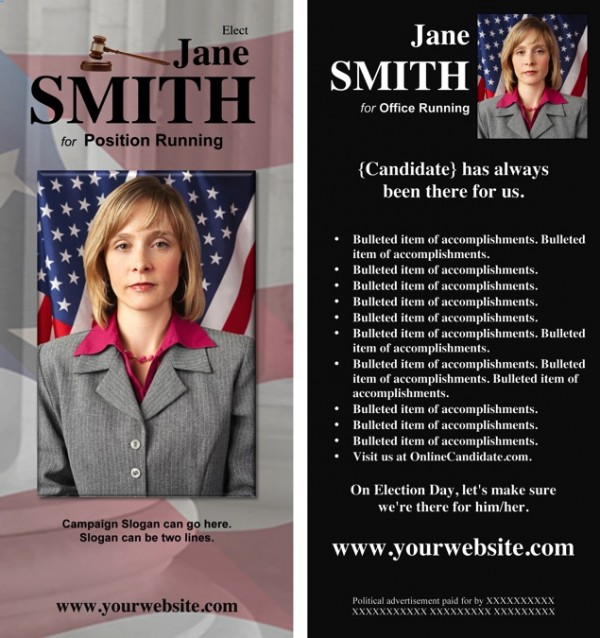Judges and Judicial Candidate Rack Card - Black Theme