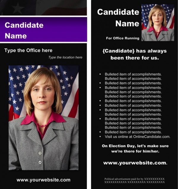 Political Rack Card Templates - Black & Purple Stripe with Flag