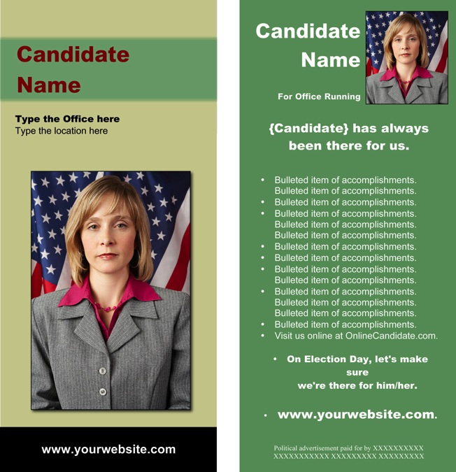Political brochure templates green and tan theme for Political campaign brochure template