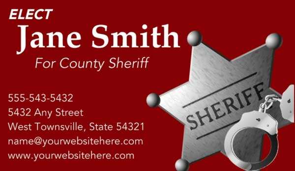 Sheriff Candidate Business Card Templates - Red Theme