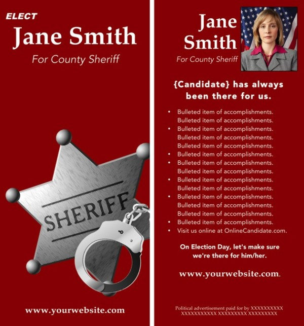 Sheriff Candidate Rack Card Templates - Red Theme