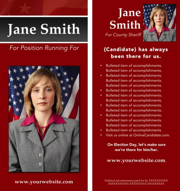 Political Rack Card Templates - Red and Gray Stripe with Flag Theme