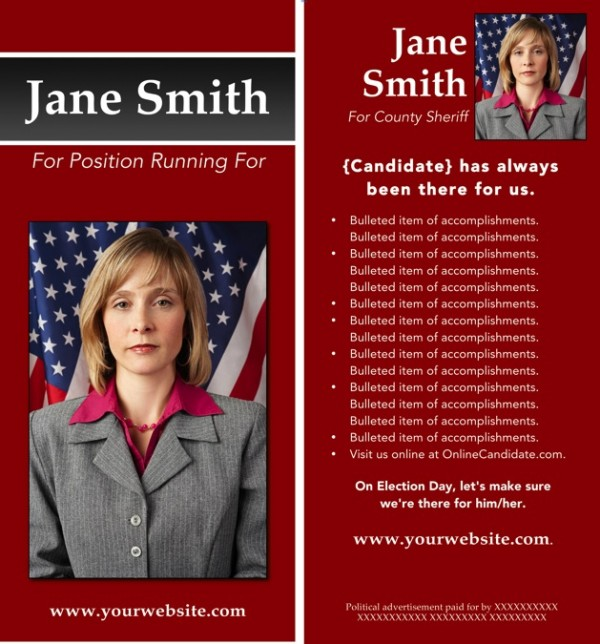 Political Rack Card Templates - Red and Gray Stripe