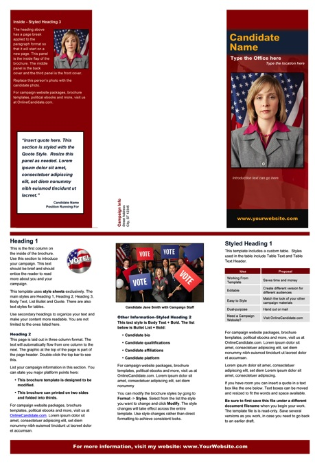 Political/Military Brochure Templates - Red and Blue Theme