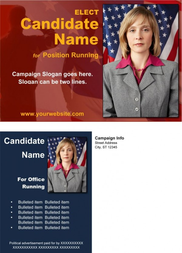 Political/Military Post Card Templates - Red and Blue Theme