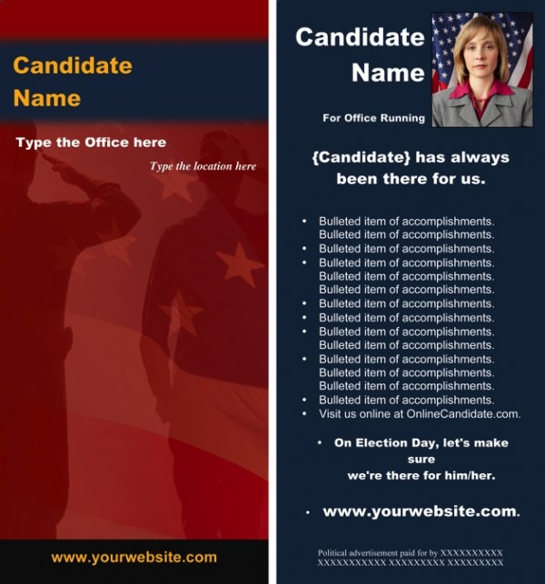 Political/Military Print Rack Card - Red and Blue Theme