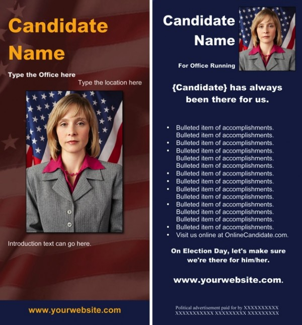 Political Rack Card Templates - Red and Blue Patriotic Theme