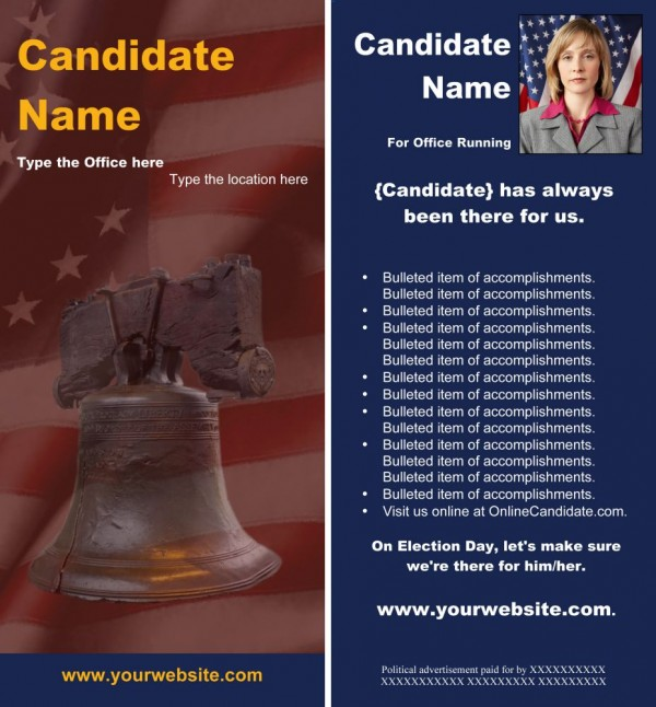 Political Rack Card Templates - Red and Blue Liberty Bell Theme