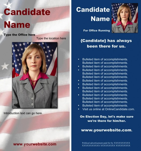 Political Rack Card Templates - Blue Patriotic Theme