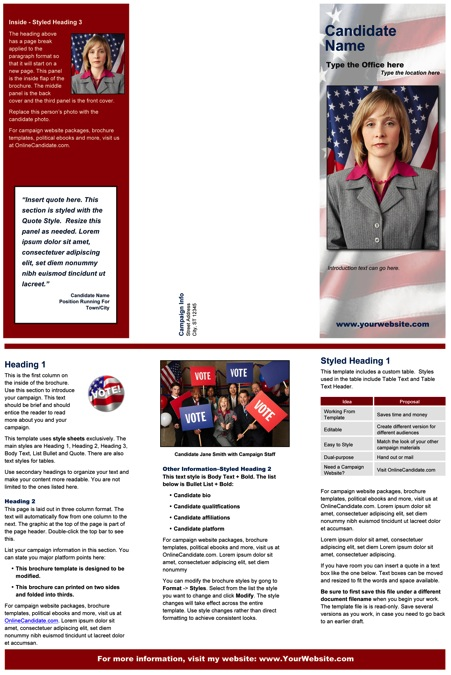 political brochure template - political print templates red patriotic theme online